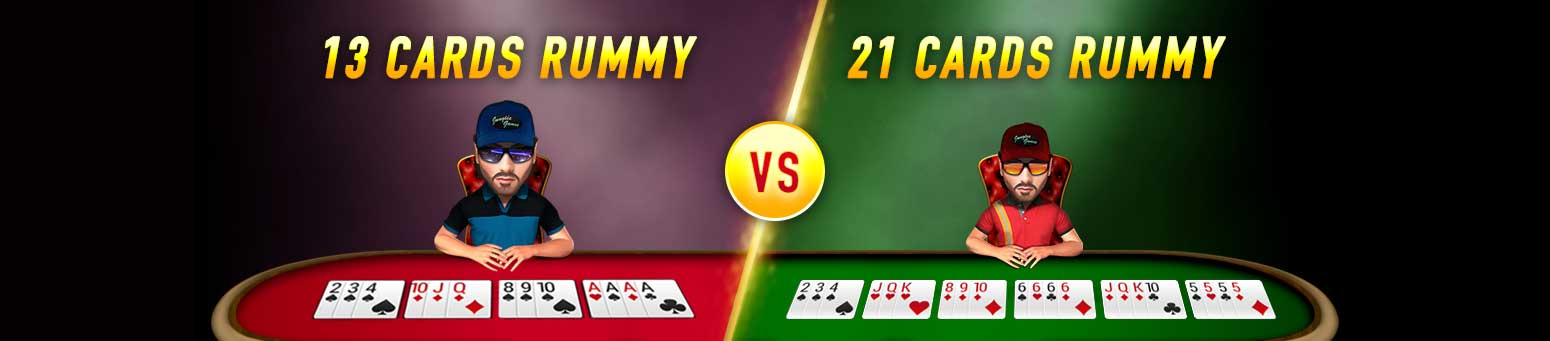 13 card vs 21 card rummy